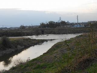 竜田川と大和川の合流点